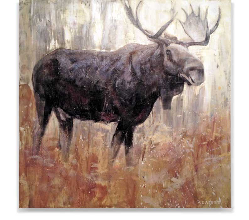 Moose at dawn, encaustic on panel, 60