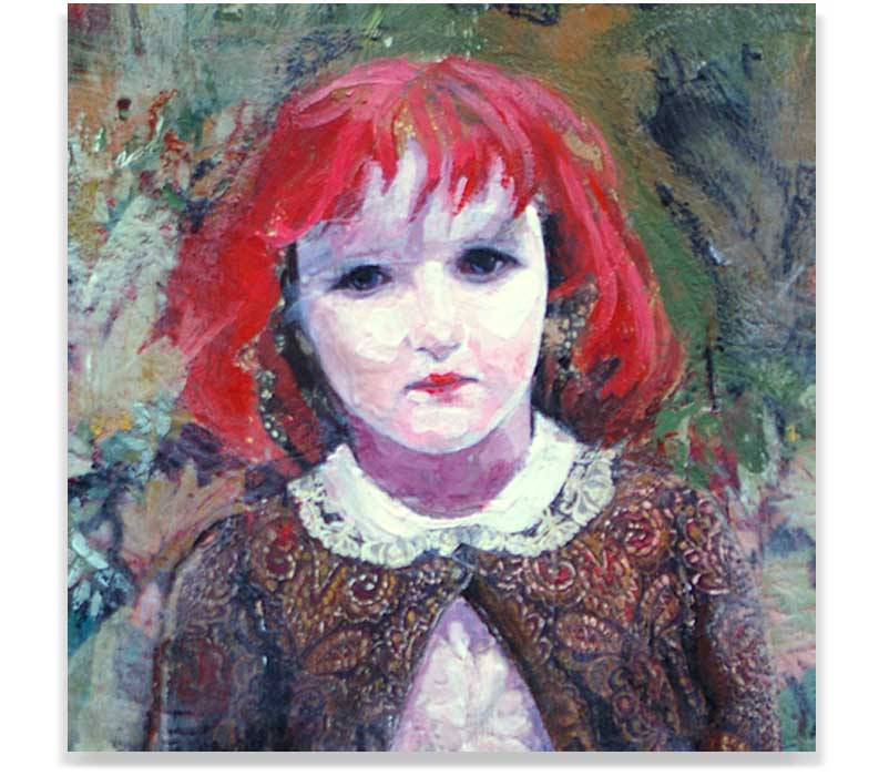 VERMILION GIRL (CROP), ENCAUSTIC ON PANEL, 37.75