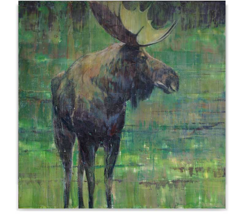 Moose at dusk, encaustic on panel, 60