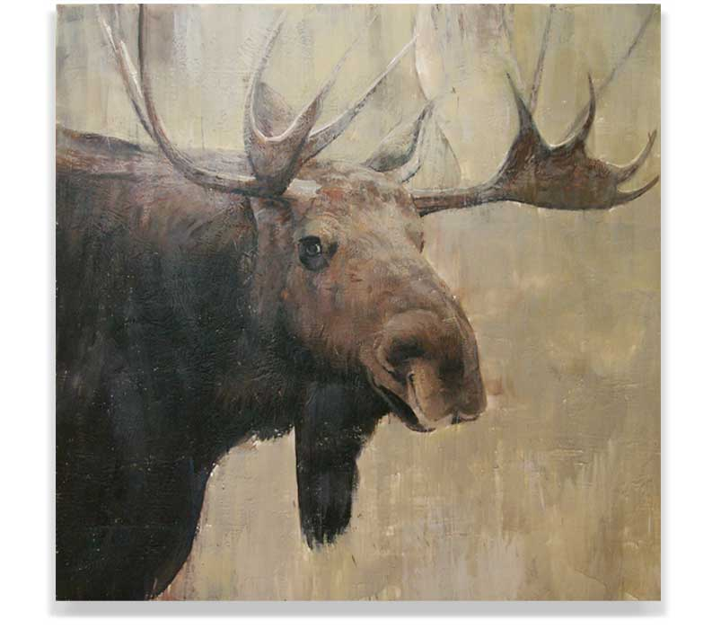 MOOSE HEAD 57-06, ENCAUSTIC ON PANEL, 60
