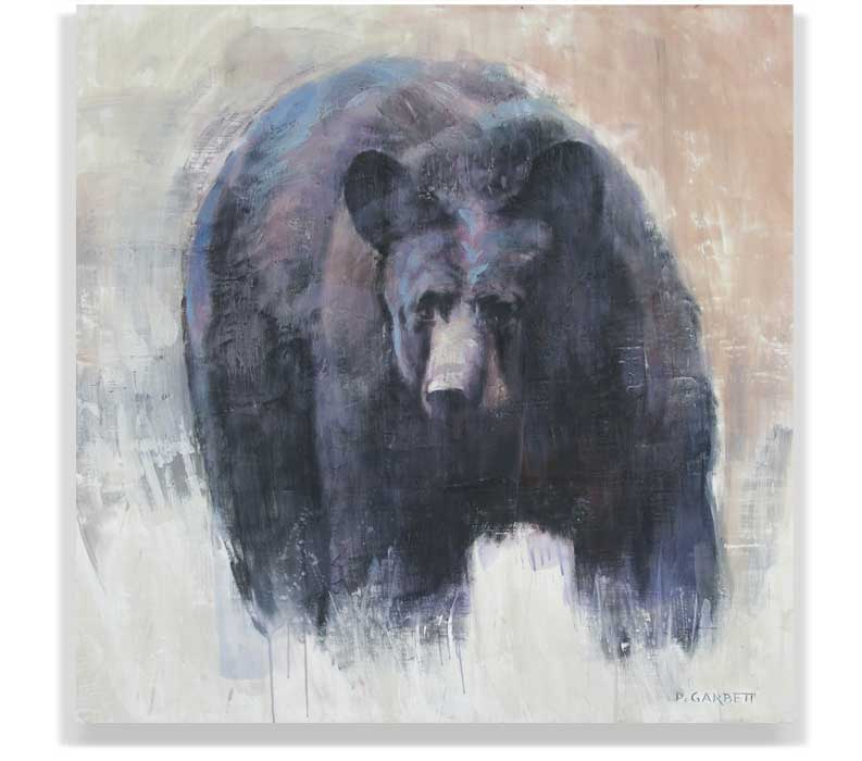 BLACK BEAR 57-015, ENCAUSTIC ON PANEL, 48
