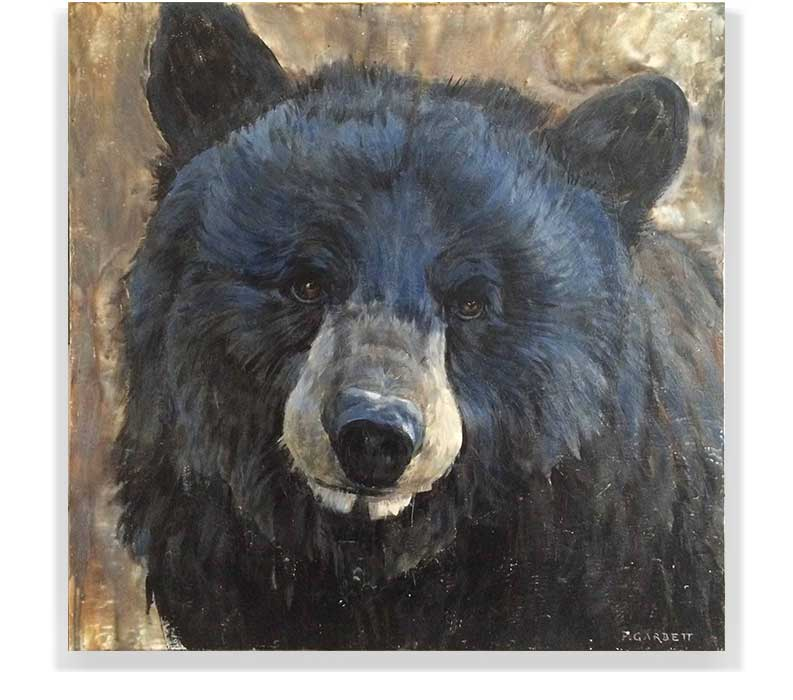 "BEAR HEAD 59-03, ENCAUSTIC ON PANEL, 48"" X 48"