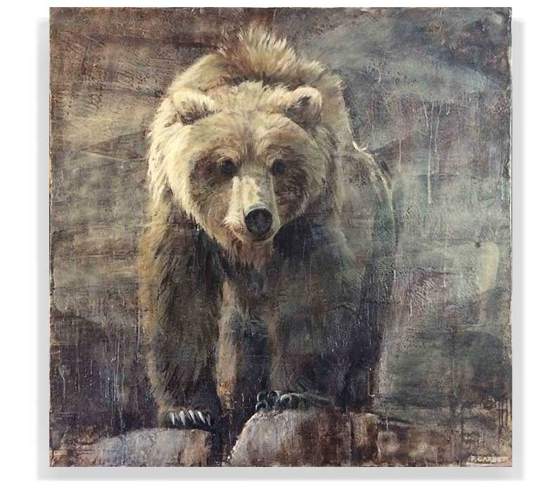"GRIZZLY 59-08, ENCAUSTIC ON CANVAS ON PANEL, 60"" X 60"