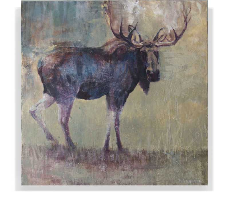 "MOOSE 58_21, ENCAUSTIC ON PANEL, 48"" X 48"""