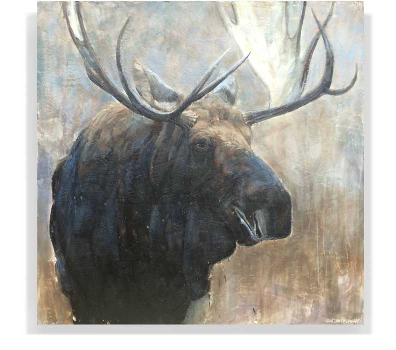 "MOOSE 58-35, ENCAUSTIC ON CANVAS ON PANEL, 60"" X 60"""