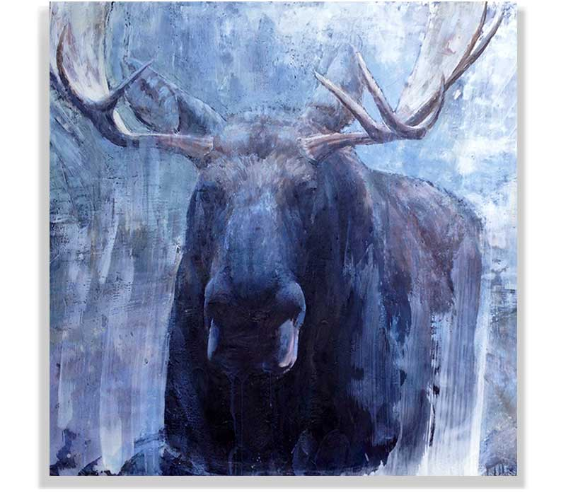 "MOOSE HEAD 58-36, ENCAUSTIC ON CANVAS ON PANEL, 48"" X 48"