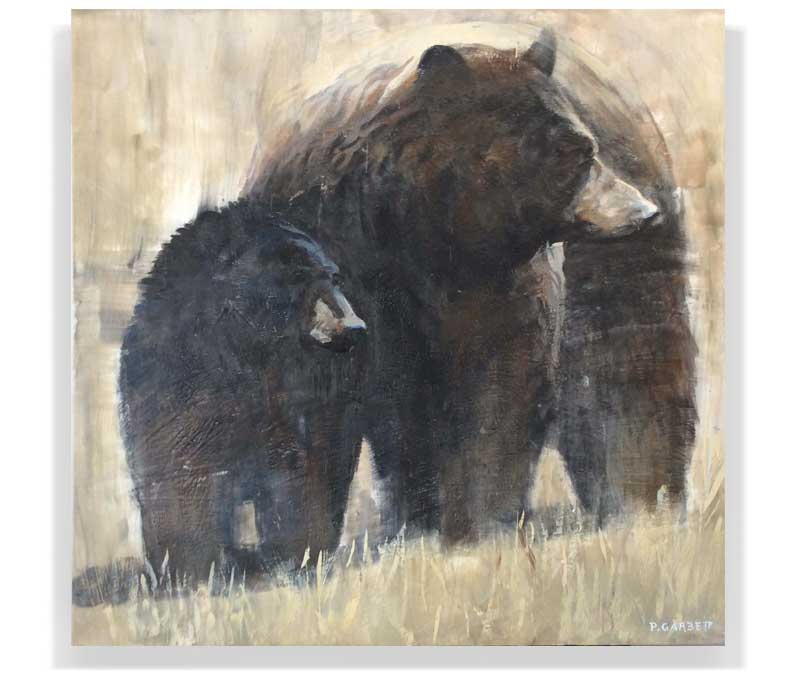 "MOTHER AND CUB 58-38, ENCAUSTIC ON PANEL, 48"" X 48"""