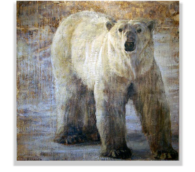 "POLAR BEAR 59-06, ENCAUSTIC ON CANVAS ON PANEL, 60"" X 60"