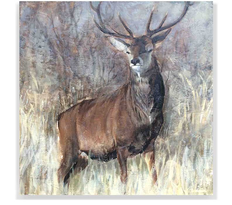 "STAG 58-34, ENCAUSTIC ON CANVAS ON PANEL, 60"" X 60"