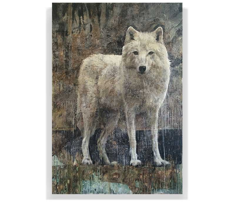 "ARTIC WOLF 59-04, ENCAUSTIC ON CANVAS ON PANEL, 60"" X 40"""