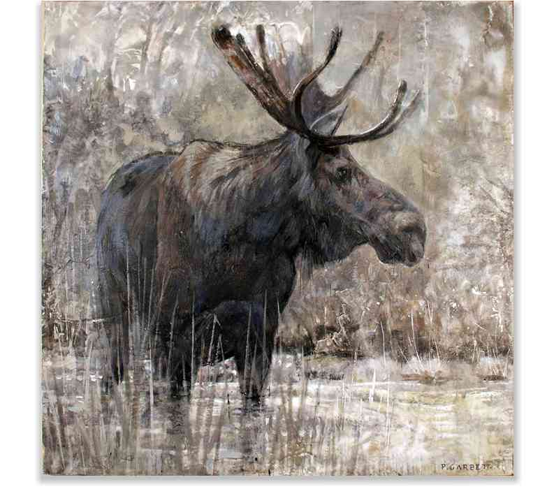 ALGONQUIN MOOSE, ENCAUSTIC ON PANEL, 60