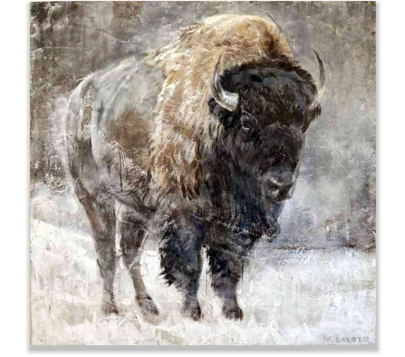 BISON, ENCAUSTIC ON PANEL, 42